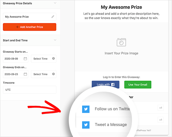 The methods for entering your twitter contest are automatically added with the twitter giveaway template