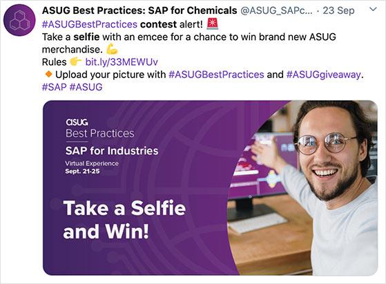 Twitter selfie contest example