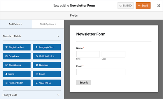 wpforms sign up form builder