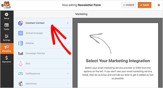 Choose the marketing tab to connect your form to constant contact