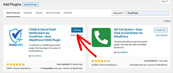 Activate the TrustPulse WordPress plugin