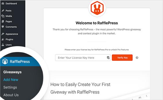 Add a new RafflePress giveaway in WordPress