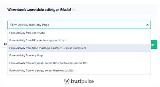 Select which activity you'd like TrustPulse to track.