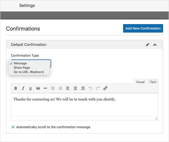 WordPress survey confirmation settings