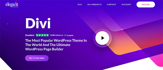 Divi popular landing page builder for WordPress