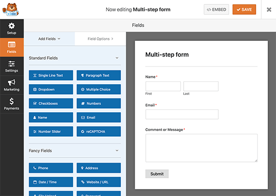 Use the WPForms drag and drop form builder to create multi step form in WordPress