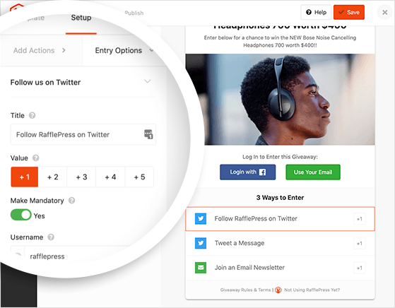 edit your twitter giveaway entry options