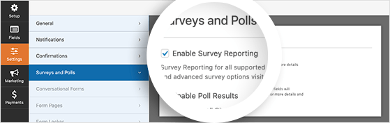 Enable survey reporting for your WordPress survey form