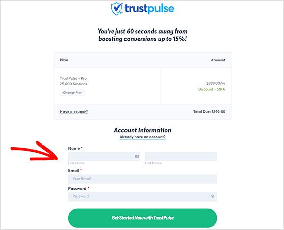 Enter your account details for TrustPulse