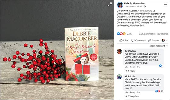 Book facebook giveaway example