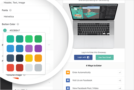 Select a layout, fonts, and button colors for your facebook flash giveaway