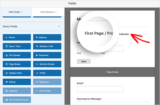 Click the first page break to add a progress bar to your multi-step form