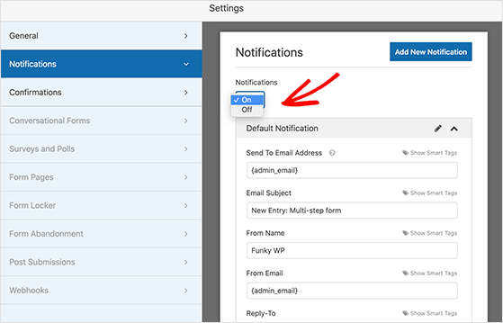 configure your form notification settings