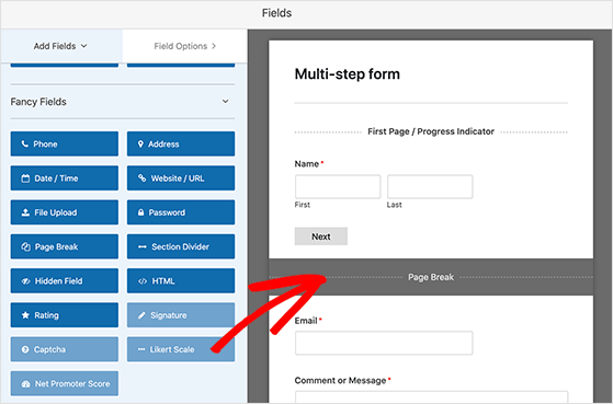 Place the page break where you want to split your form into multiple parts