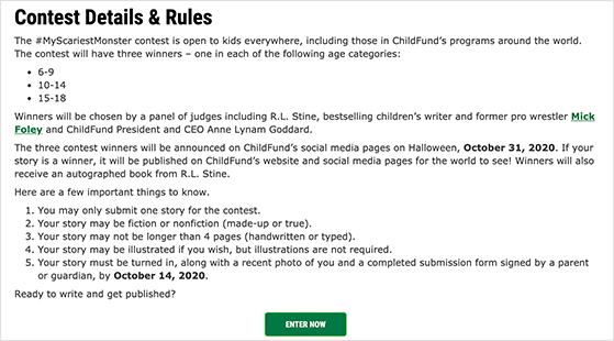 ChildFund hashtag contest rules