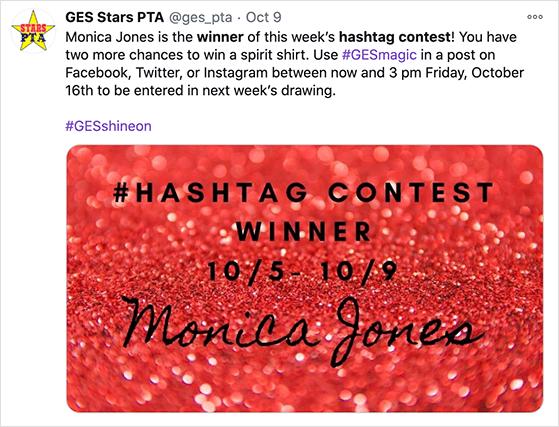 Announce the hashtag contest winner on social media
