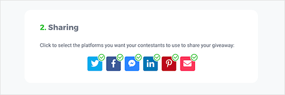 KingSumo giveaway sharing options