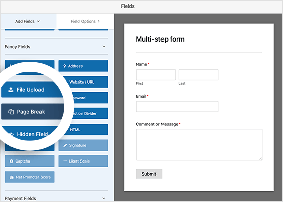 select the page break field to create a multi-step form