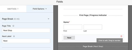 Choose a page break page title