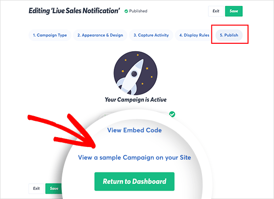 Preview your live sales notification campaign
