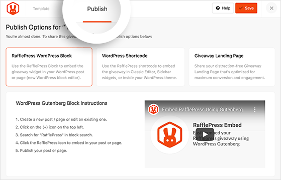 Click the publish button to publish your giveaway with rafflepress