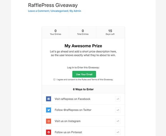 Preview your RafflePress giveaway in WordPress