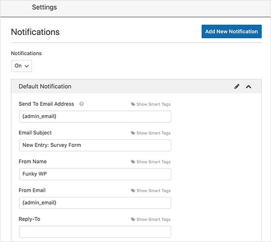 WordPress survey form notification settings