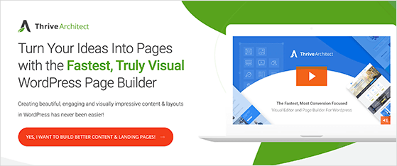 Thrive Architect visual landing page tool for WordPress
