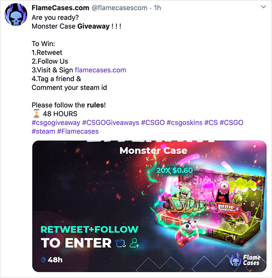 Twitter giveaway entry requirements