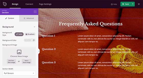 Add a faq page section to your coming soon page