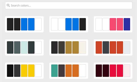 Choose from over 20 pre-built color palettes