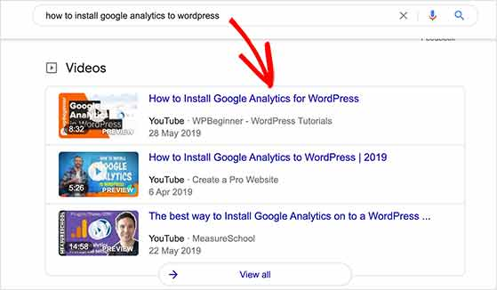Videos show up in search results which can improve click through rates