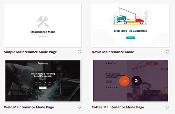 Choose a maintenance mode template for WordPress