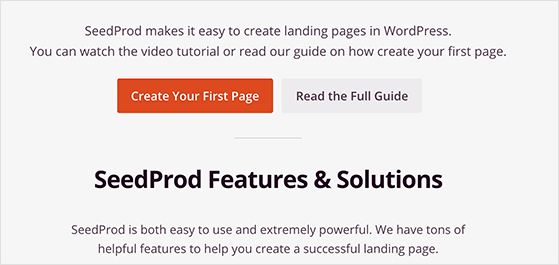 create your first landing page in WordPress