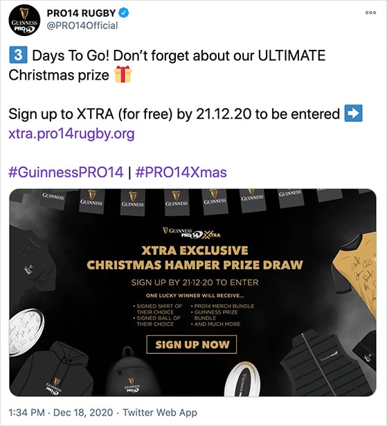 Grow your email list twitter giveaway example