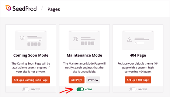 Enable WordPress maintenance mode