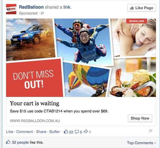 facebook abandoned cart retargeting ad