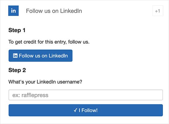 RafflePress follow on LinkedIn giveaway action