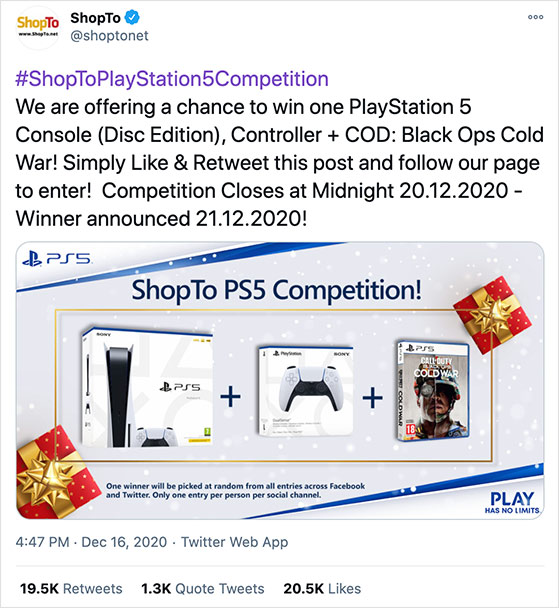 High value twitter contest example