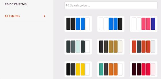 SeedProd landing page color palettes