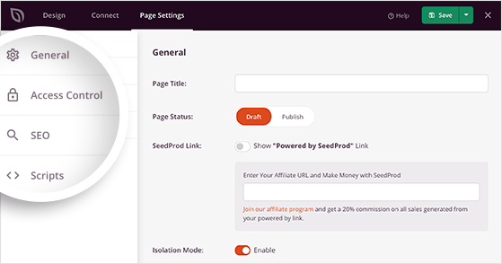 WordPress maintenance mode page settings