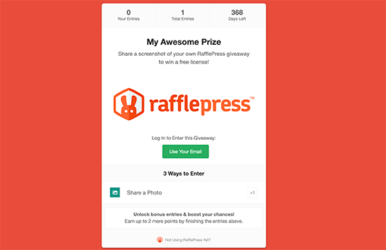 Photo contest rafflepress giveaway landing page