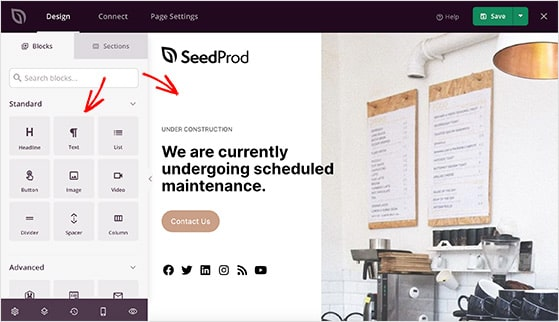 SeedProd drag and drop visual page editor