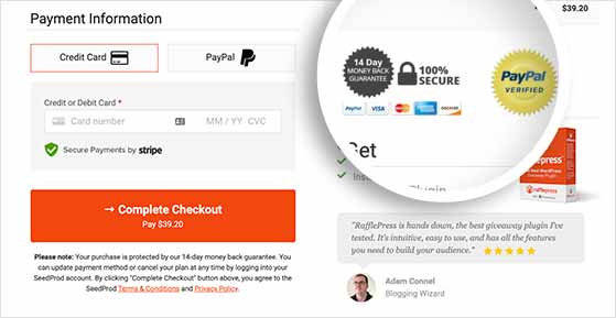 Reduce shopping cart abandonment with trust badges on checkout pages