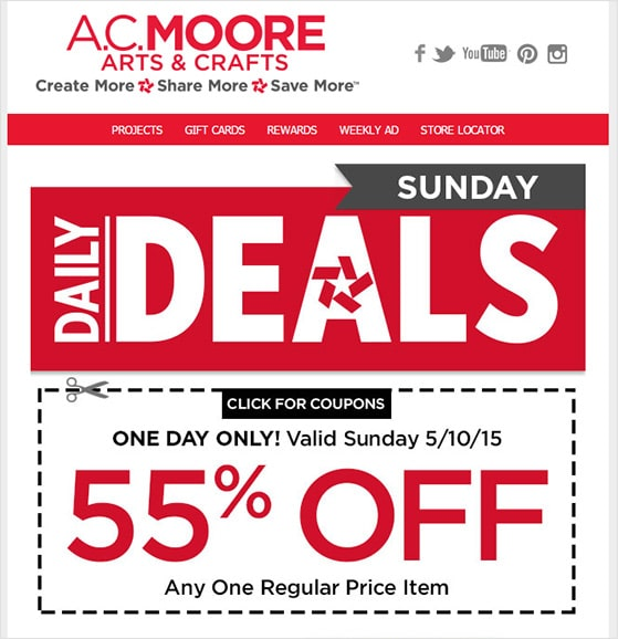 ACmoore email newsletter coupons