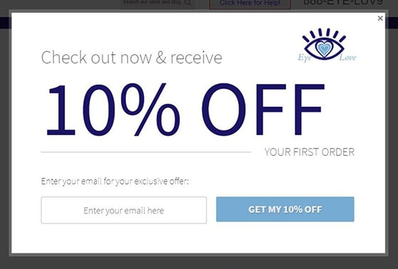 Abandoned cart popup with discount coupon