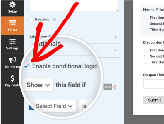 Conditional logic in WPForms