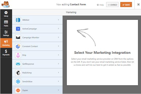 WPForms email marketing integrations