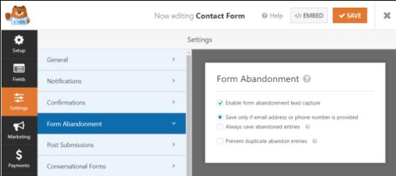 WPForms review: form abandonment view