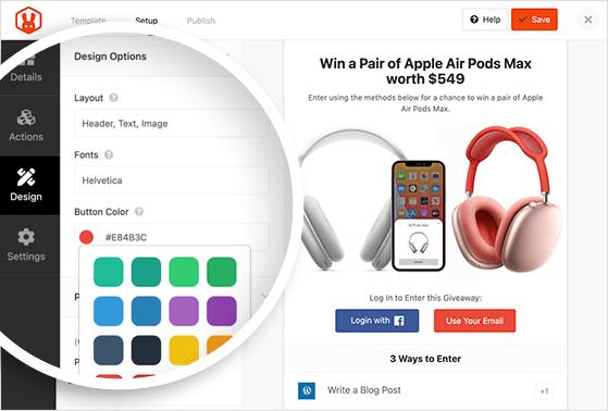 Giveaway widget design options
